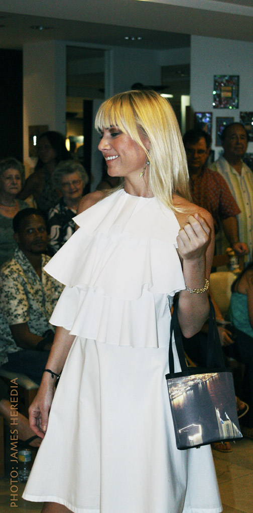 Summer Salon MODE Lifestyle Magazine fashion show. Olivia Lucas dress, Cortese Designs Havana Club Petite Tote Bag