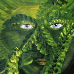 Hurricane Gnome, plant and nature spirit series deva, face detail, acrylic painting on plywood by Debra Cortese