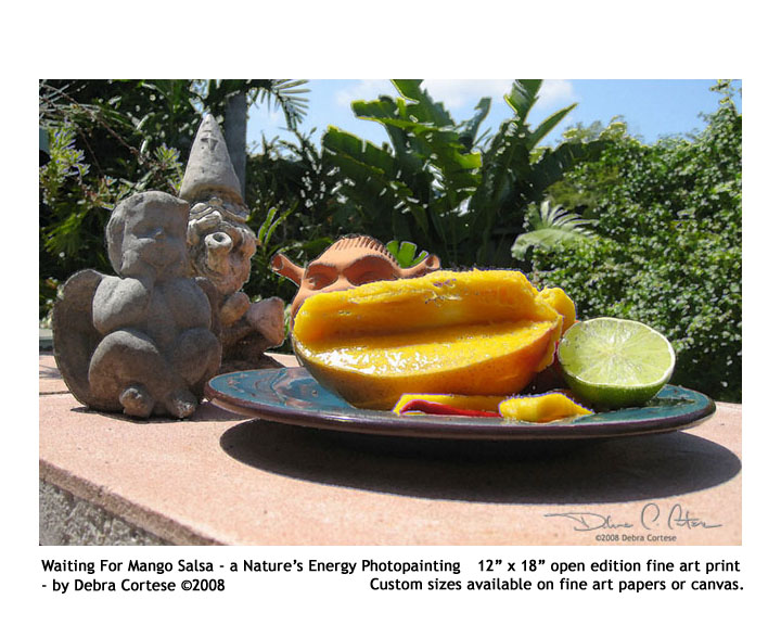 Waiting for Mango Salsa (garden characters and nature spirits) by Debra Cortese