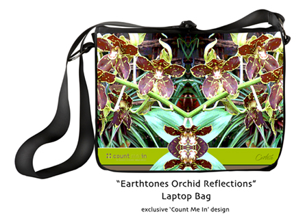 Count Me In - exclusive Earthtones Orchid Reflections laptop bag design by Cortese