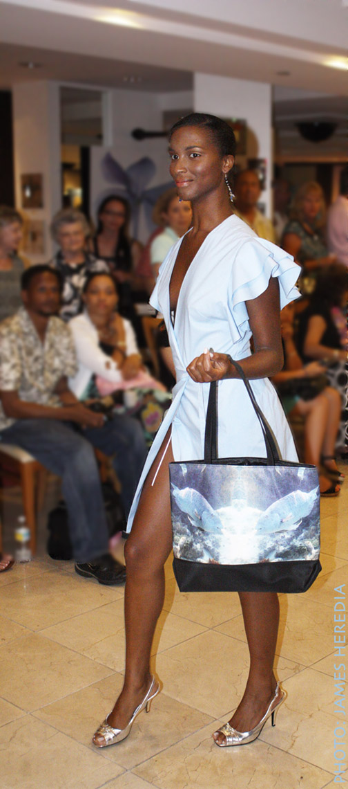 Summer Salon MODE Lifestyle Magazine fashion show. Olivia Lucas dress, Cortese Designs Blue Parrotfish Reflection Tote Bag