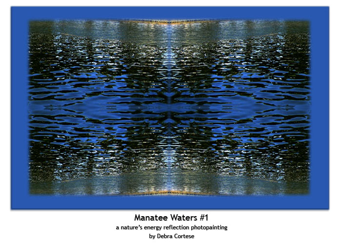 Manatee Waters #1 a nature's energy reflection mixed media fine art print by Debra Cortese