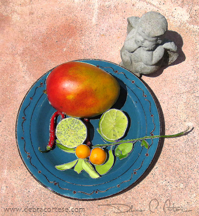 Blue Plate Mango with Angel by Debra Cortese