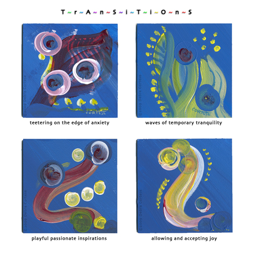 Original Transitions - 4 small blue paintings by Debra Cortese. Art as healing therapy.