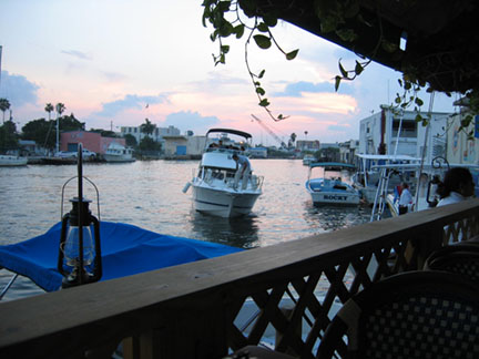 Sunset dinner from the deck at Casablanca overlooking the Miami River. Photo: Debra Cortese