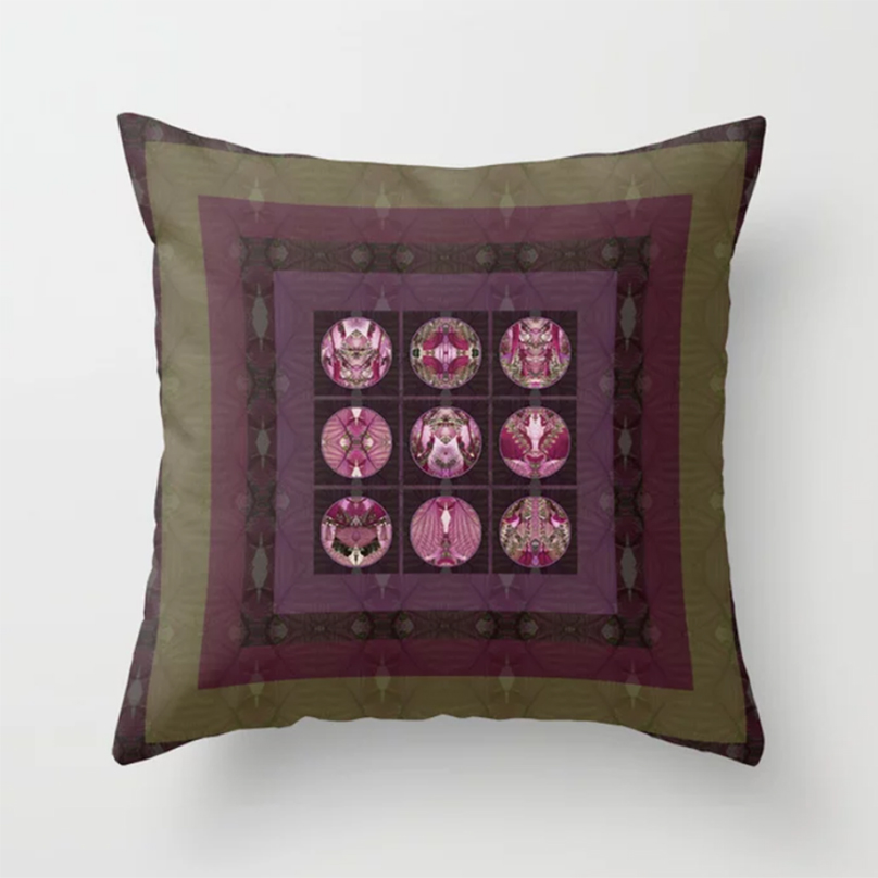 Red Shiso 9 Mandala Design Throw Pillow - Debra Cortese Designs