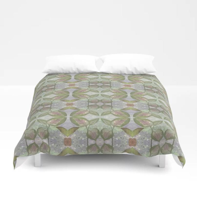 Coleus Leaves quiet gray duvet cover by Debra Cortese Designs