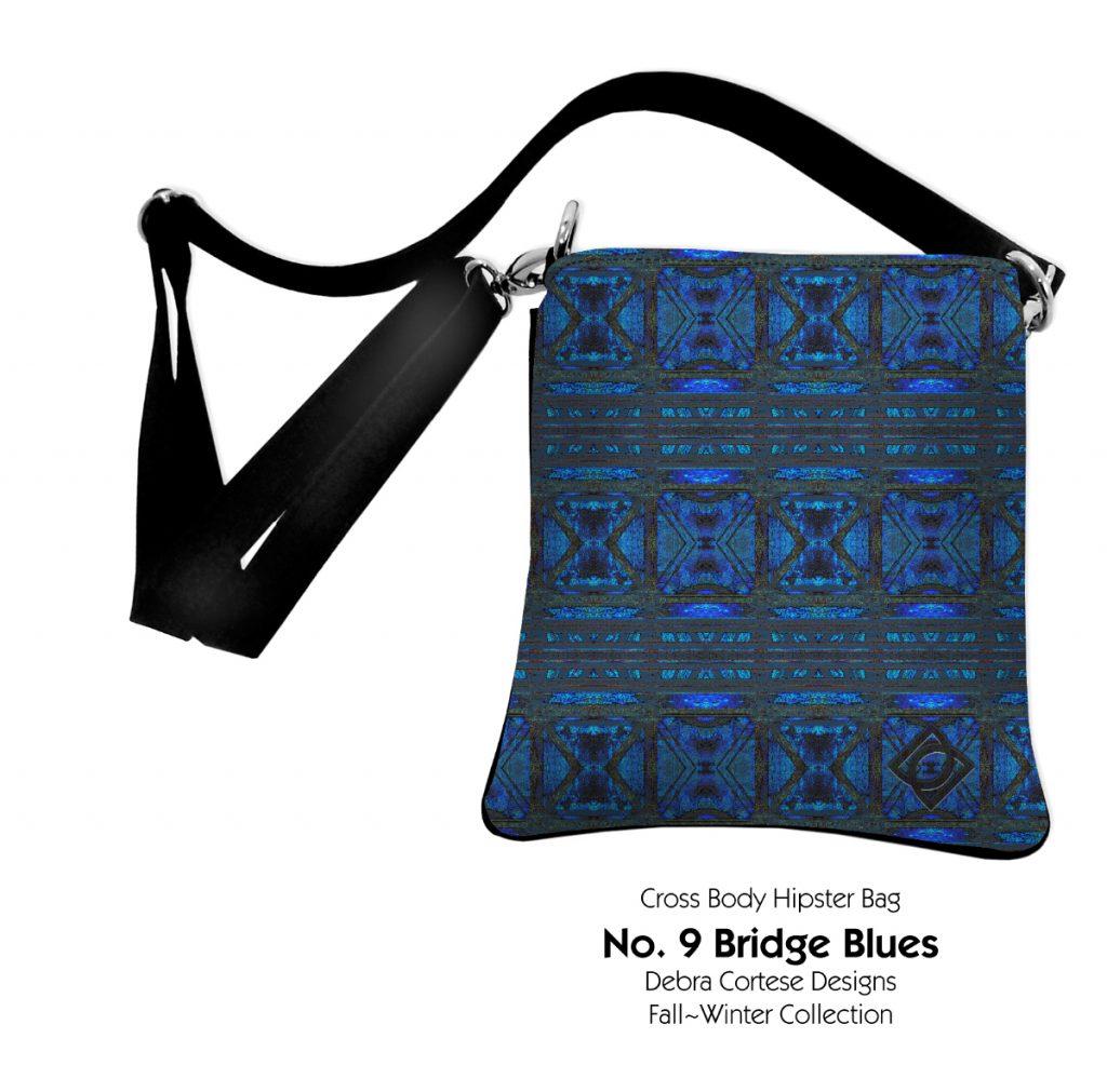No. 9 Bridge Blues on Crossbocy bag by Debra Cortese Designs
