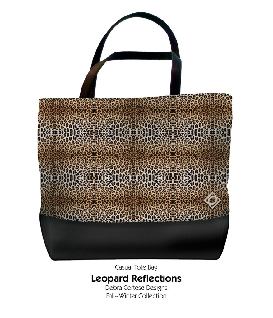 Leopart Reflections Print Casual Tote Bag by Debra Cortese Designs