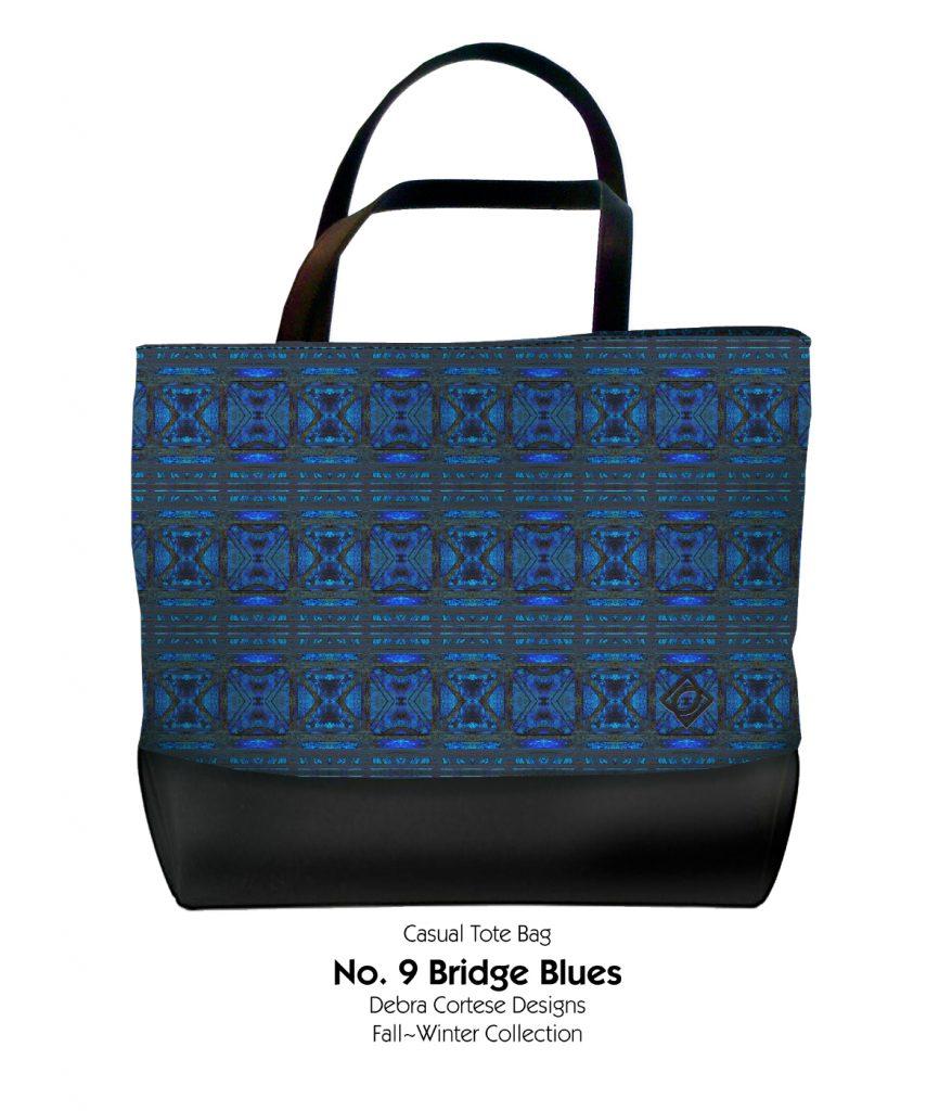 No. 9 Bridge Blues Casual Tote Bag by Debra Cortese Designs