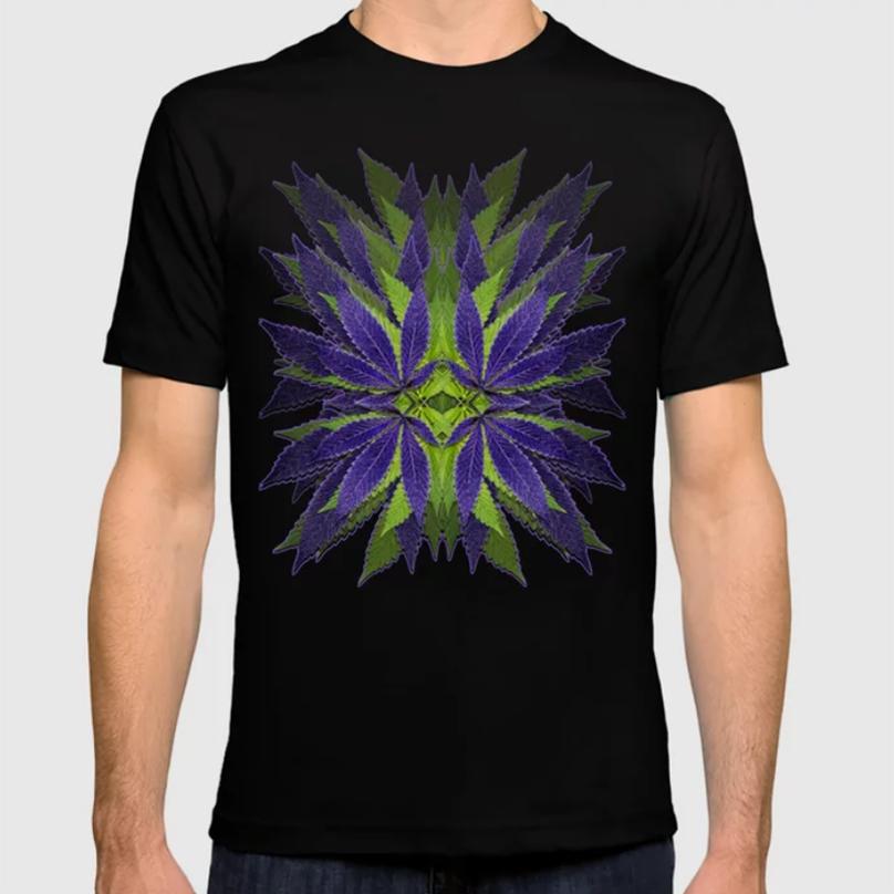 UltravioletGreenMarijuanaLeavesDesign_MensBLACKTShirt_DebraCorteseDesigns