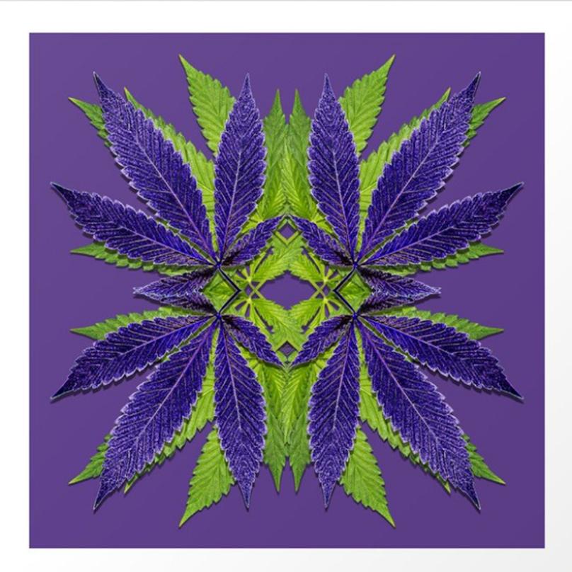 Ultraviolet Green Marijuana Leaves design by Debra Cortese Designs